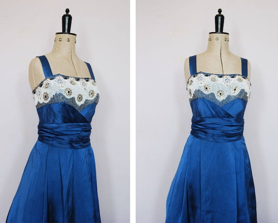 Vintage 1950s blue satin ball gown - 50s prom dres