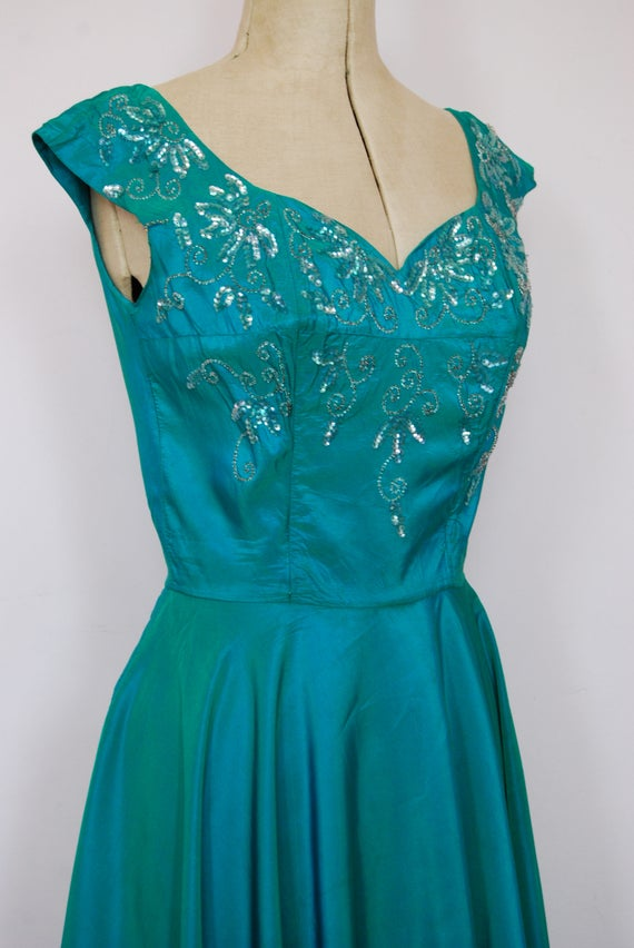 Vintage 1950s iridescent teal satin ball gown - 5… - image 5
