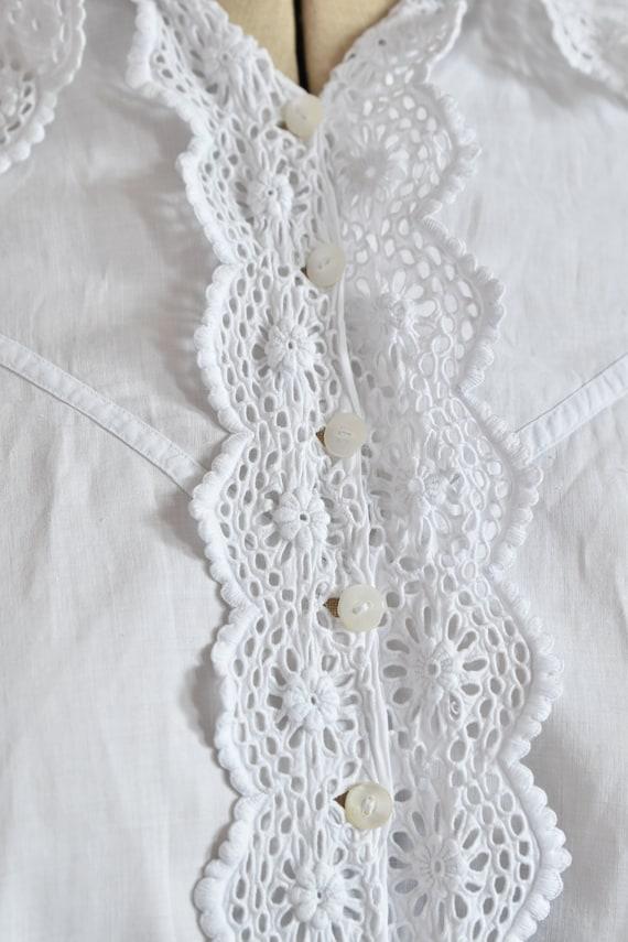 Antique Victorian Edwardian floral lace white cot… - image 4