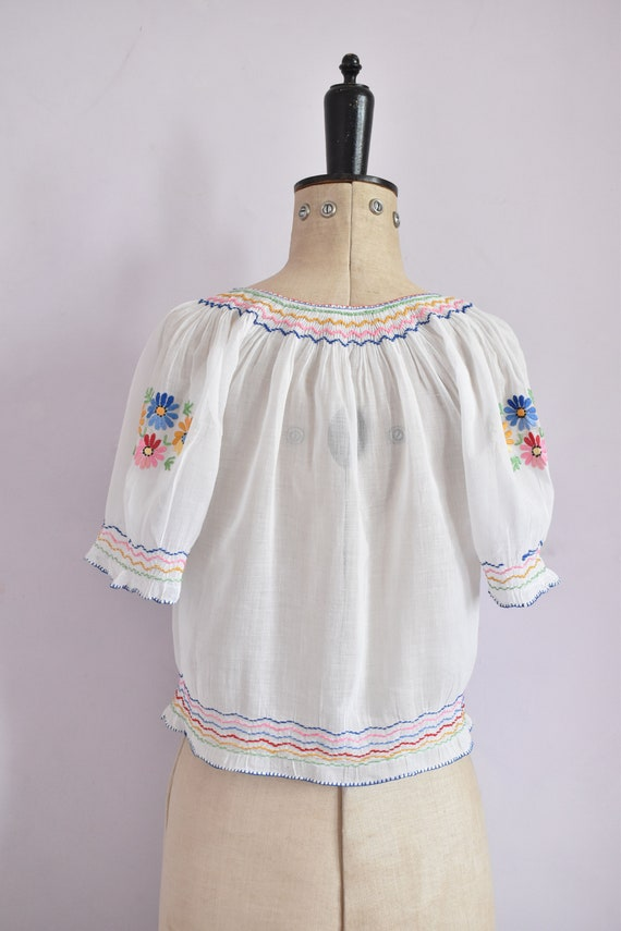 Vintage 1930s 40s Hungarian embroidered sheer cot… - image 8