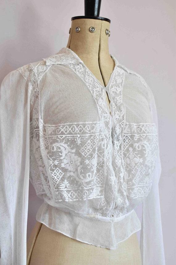 Antique Victorian white filet lace net blouse top… - image 5