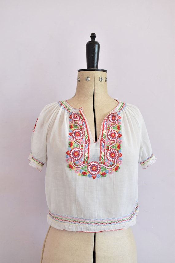 Vintage 1930s embroidered Hungarian sheer blouse … - image 2