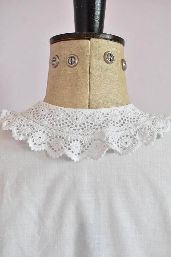 Antique Victorian Edwardian floral lace white cot… - image 10