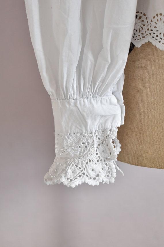 Antique Victorian Edwardian floral lace white cot… - image 8