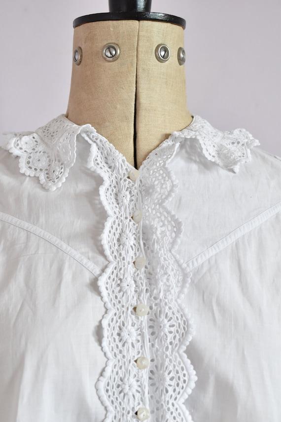 Antique Victorian Edwardian floral lace white cot… - image 3