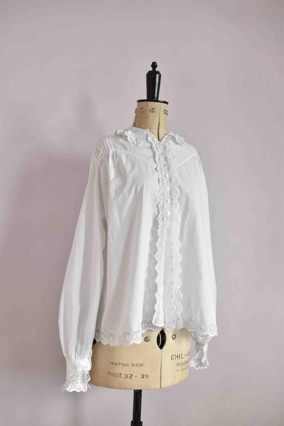 Antique Victorian Edwardian floral lace white cot… - image 5