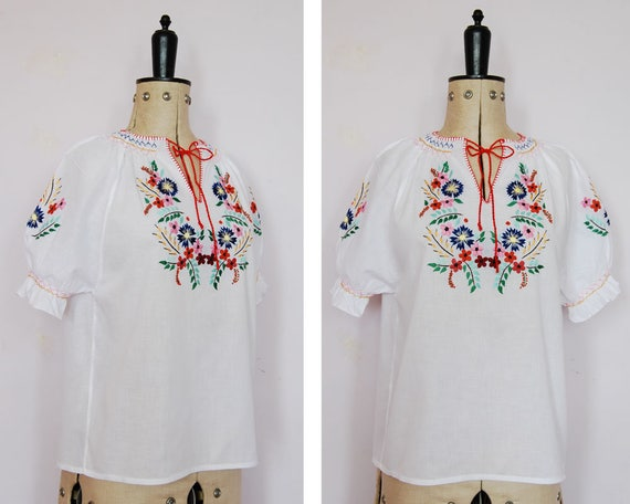 Vintage 1960s 70s 30s embroidered Hungarian blouse
