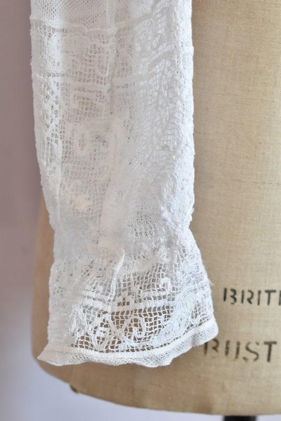 Antique Victorian white filet lace net blouse top… - image 7