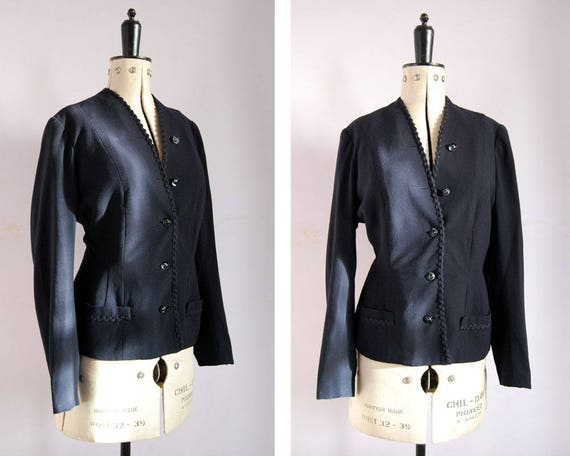 Vintage 1940s navy wool fitted jacket - 40s navy c