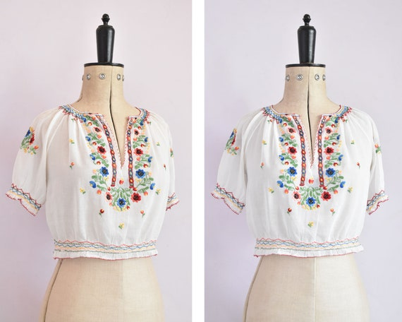 Vintage 1930s sheer embroidered Hungarian blouse -