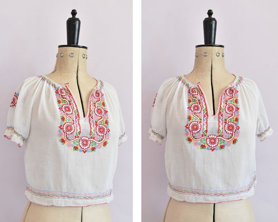Vintage 1930s embroidered Hungarian sheer blouse … - image 1