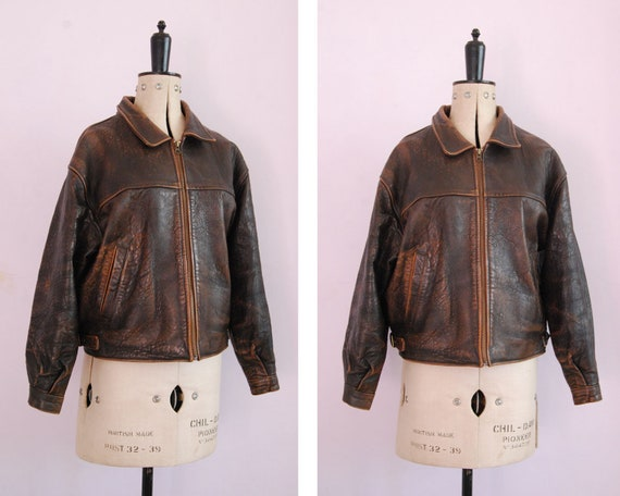 Vintage 1980s 90s Brown leather aviator bomber jac