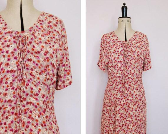 5d057000e82 Vintage 1990s lace up corset maxi rayon crepe dress 90s