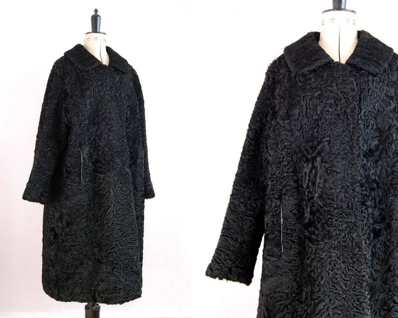 08de27eebec75 Vintage 1950s 60s Persian Lamb fur coat Persian Wool Coat