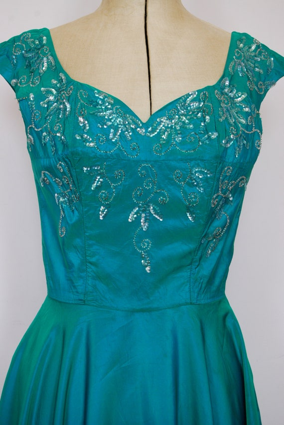 Vintage 1950s iridescent teal satin ball gown - 5… - image 3