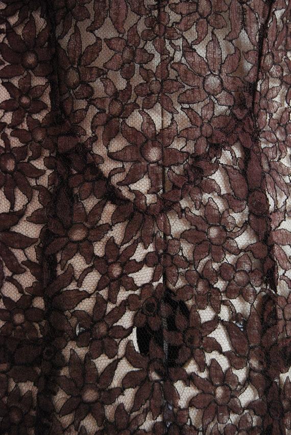 Vintage 1930s Chocolate brown floral lace bias cu… - image 7