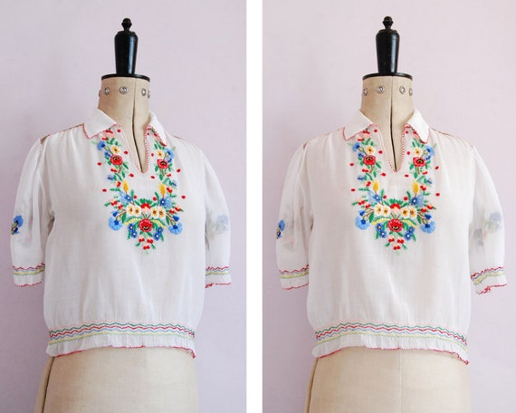 Vintage 1930s 40s Hungarian embroidered sheer cott