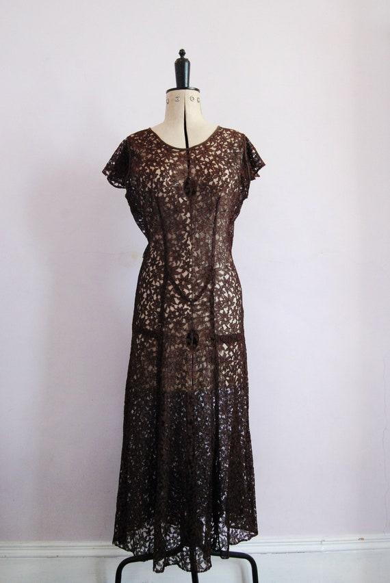 Vintage 1930s Chocolate brown floral lace bias cu… - image 2