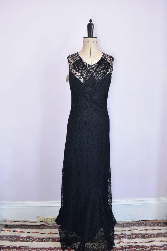 Vintage 1930s black floral lace ruffle bias cut g… - image 2