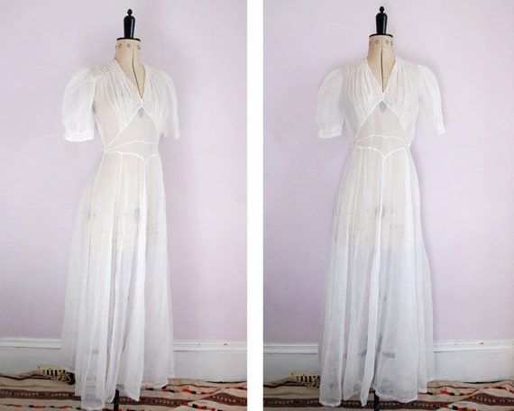 Vintage 1930s Sheer white organza organdy wedding… - image 7