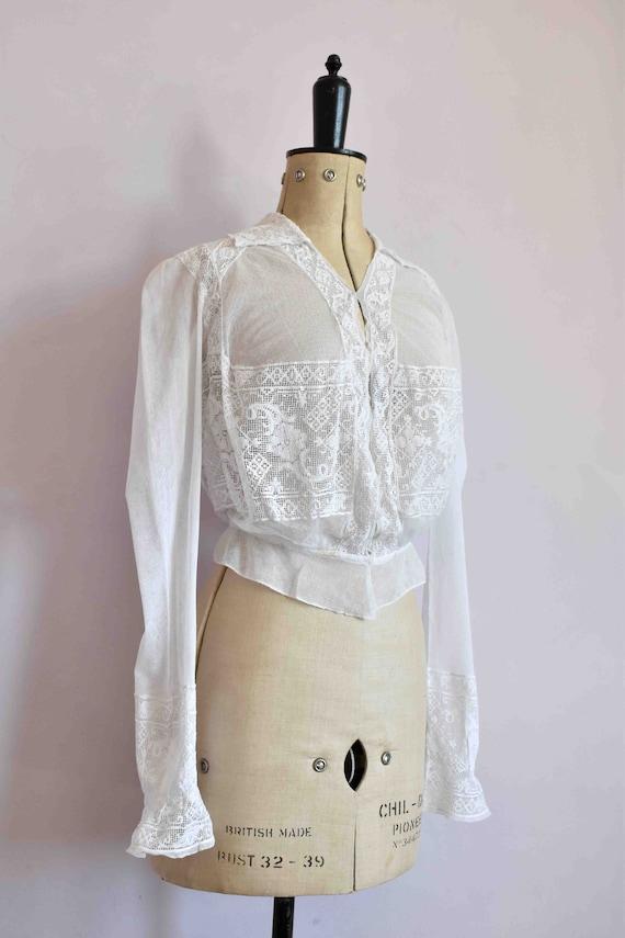 Antique Victorian white filet lace net blouse top… - image 4