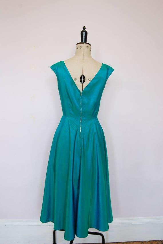 Vintage 1950s iridescent teal satin ball gown - 5… - image 7