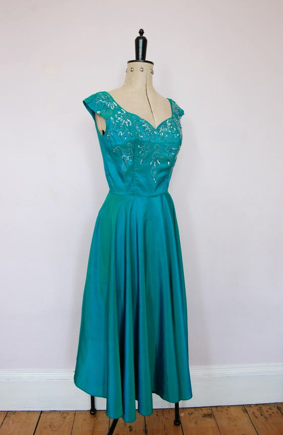 Vintage 1950s iridescent teal satin ball gown - 5… - image 4
