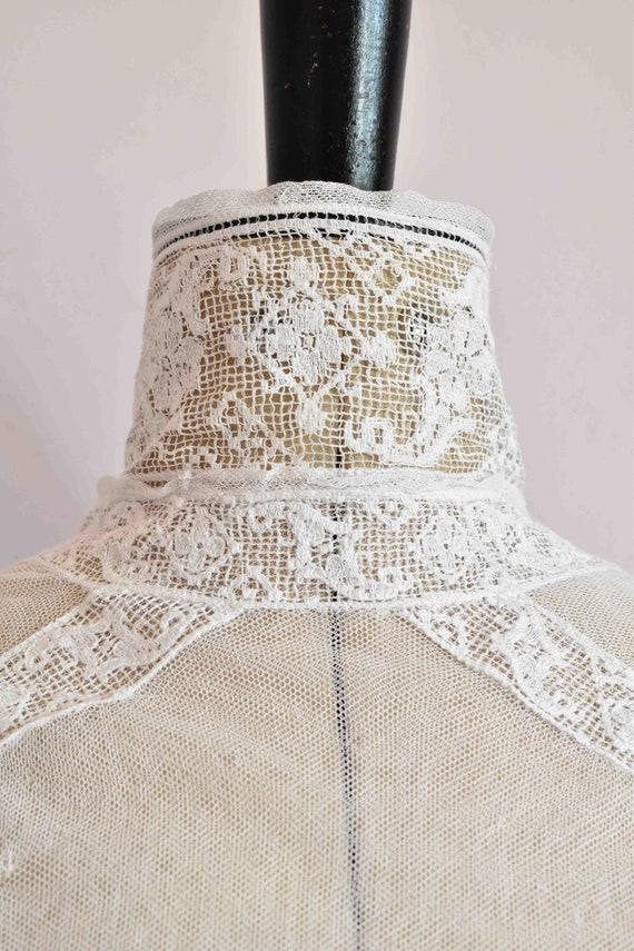 Antique Victorian white filet lace net blouse top… - image 10