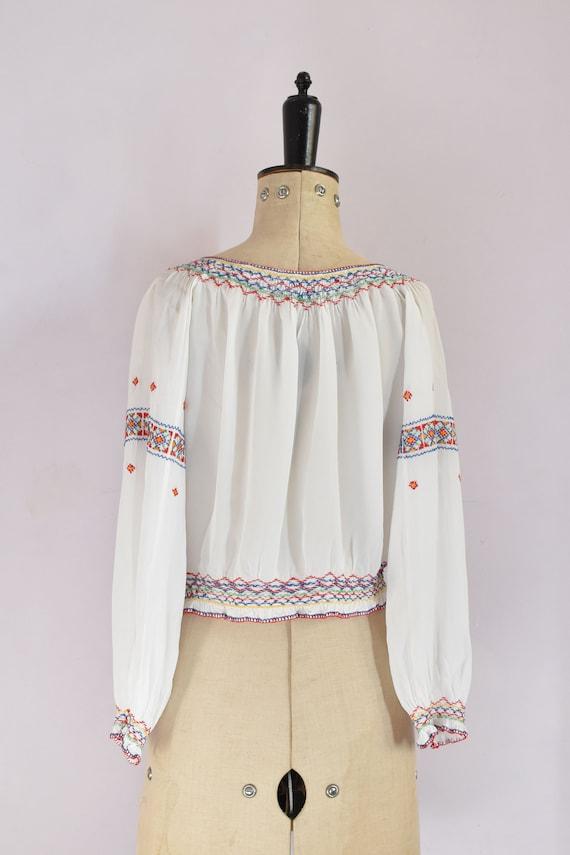 Vintage 1930s Hungarian embroidered silk crepe bl… - image 8