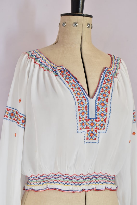 Vintage 1930s Hungarian embroidered silk crepe bl… - image 5
