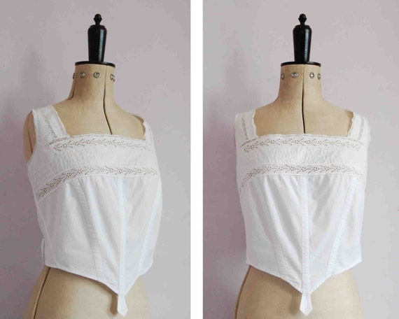 Vintage Antique Victorian crochet corset cover - E
