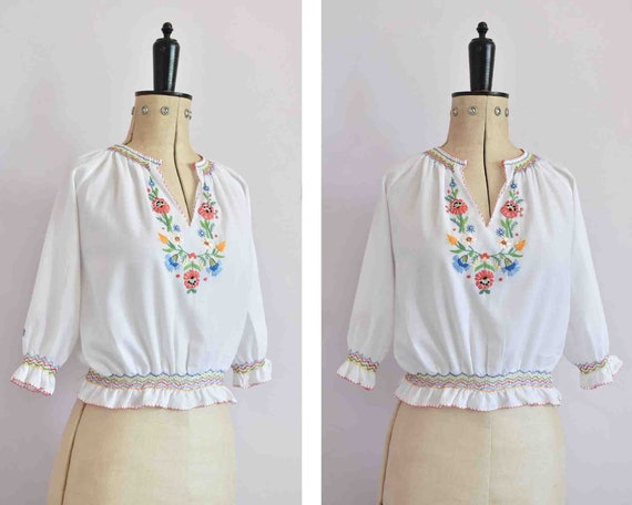 Vintage 1960s 70s 30s style Hungarian embroidered