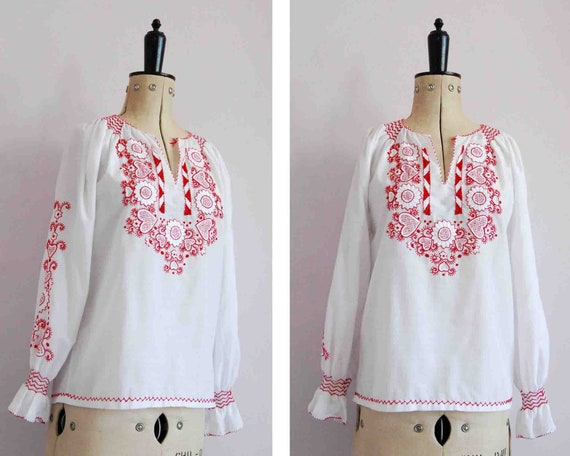 Vintage 1960s 70s red embroidered Hungarian blouse