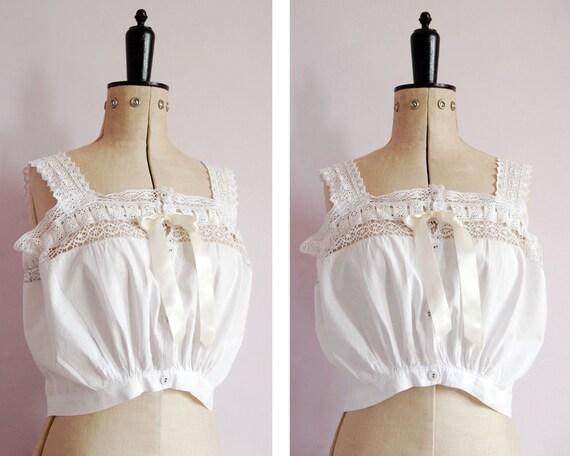 Vintage Antique Victorian lace corset cover - Edwa