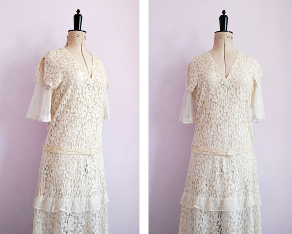 Vintage 1920s 30s ivory floral lace & net dress -