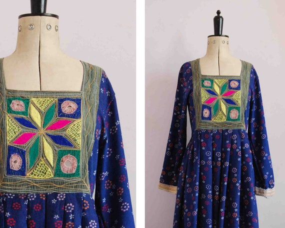 Vintage 1970s Afghan Kuchi embroidered floral maxi