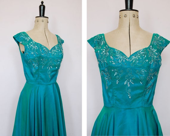 Vintage 1950s iridescent teal satin ball gown - 50