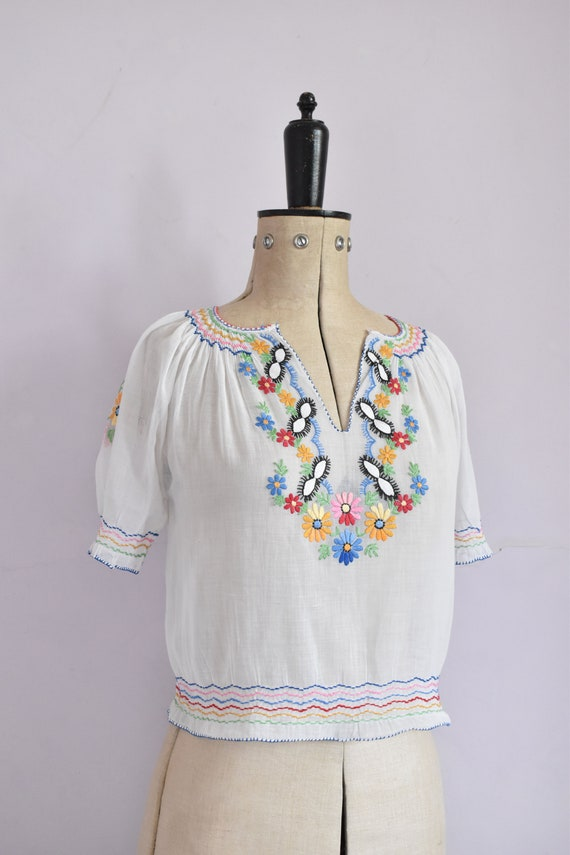 Vintage 1930s 40s Hungarian embroidered sheer cot… - image 5