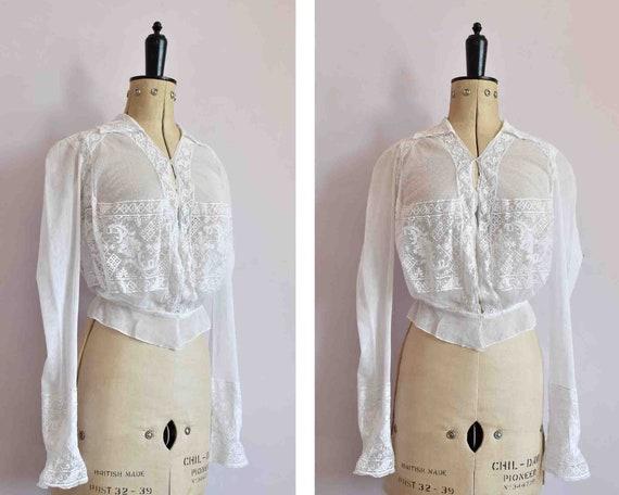 Antique Victorian white filet lace net blouse top… - image 1