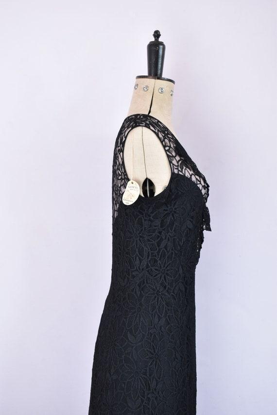 Vintage 1930s black floral lace ruffle bias cut g… - image 7