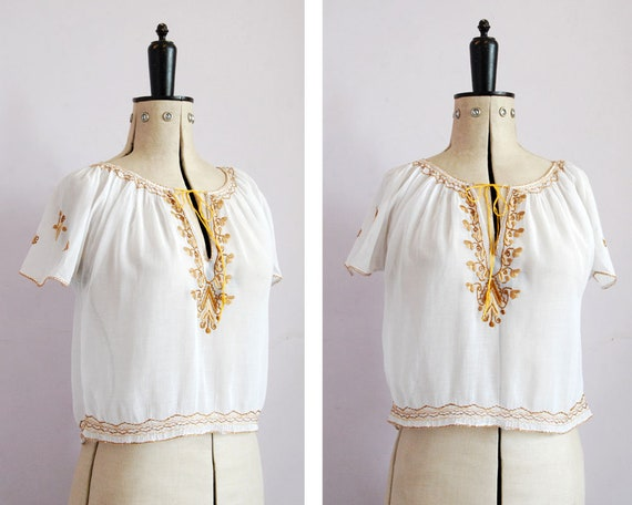 Vintage 1930s 40s embroidered Hungarian blouse - 3
