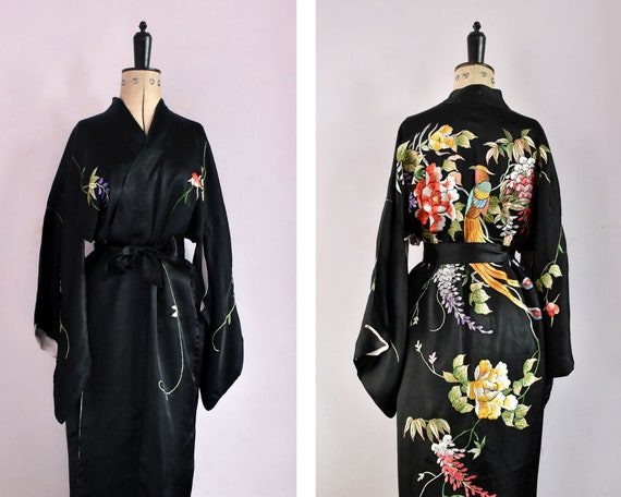 Vintage 1950s 20s embroidered floral and parrot bi