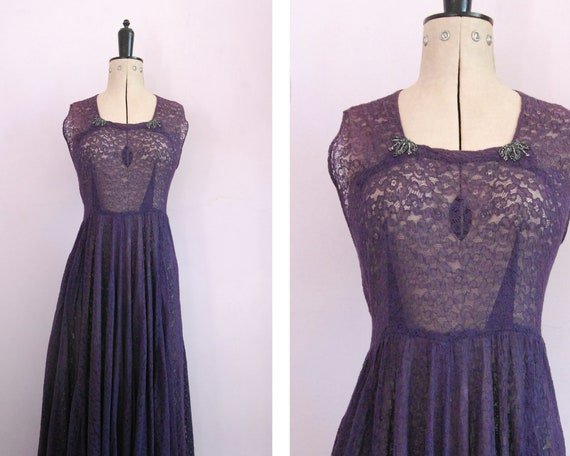 Vintage 1940s purple floral sheer lace beaded ball