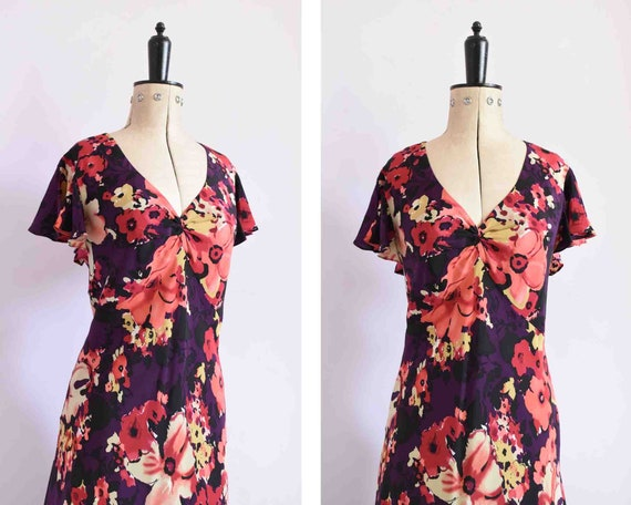 Vintage 1990s 30s style silk floral frill sleeve b