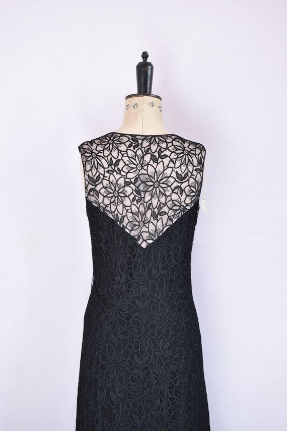 Vintage 1930s black floral lace ruffle bias cut g… - image 9