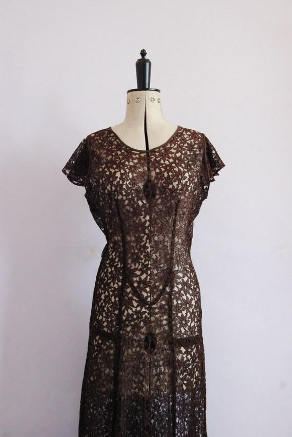 Vintage 1930s Chocolate brown floral lace bias cu… - image 3
