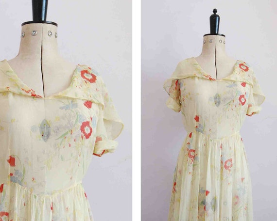 Vintage 1930s silk chiffon sheer yellow floral col
