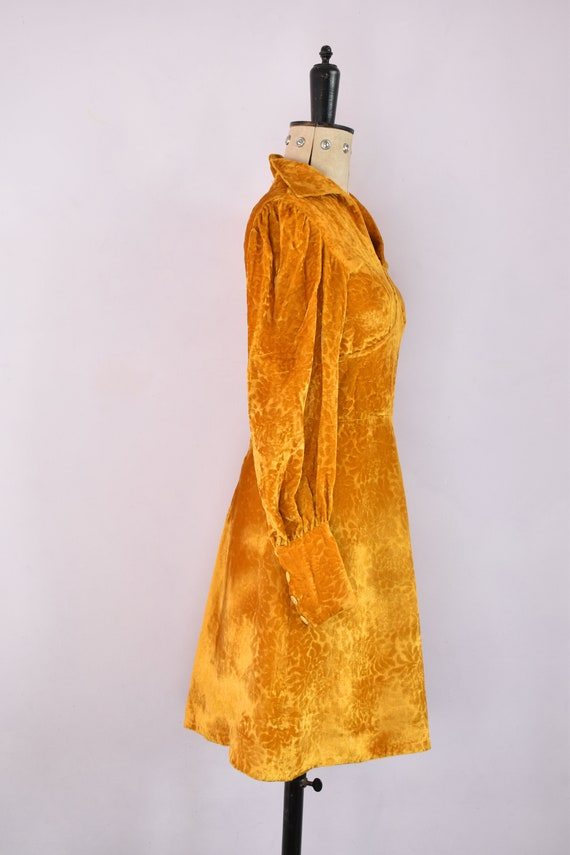 Vintage 1970s Devoré velvet gold mini dress - 70s… - image 7