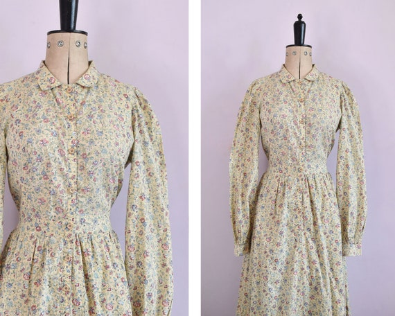 Vintage 1970s  Liberty Origin yellow floral print
