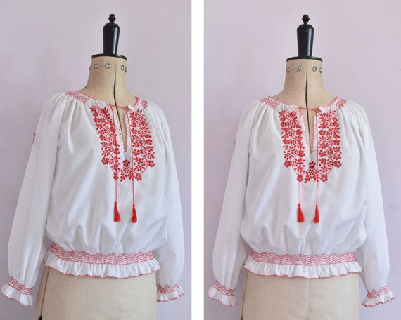 Vintage 1970s 30s style embroidered Hungarian blou